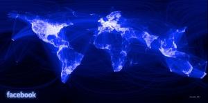 Mapa criado por amigos do Facebook conectados entre si